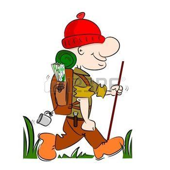 trecking: Un excursionista excursionista caricatura ir de camping con mochila y bastón