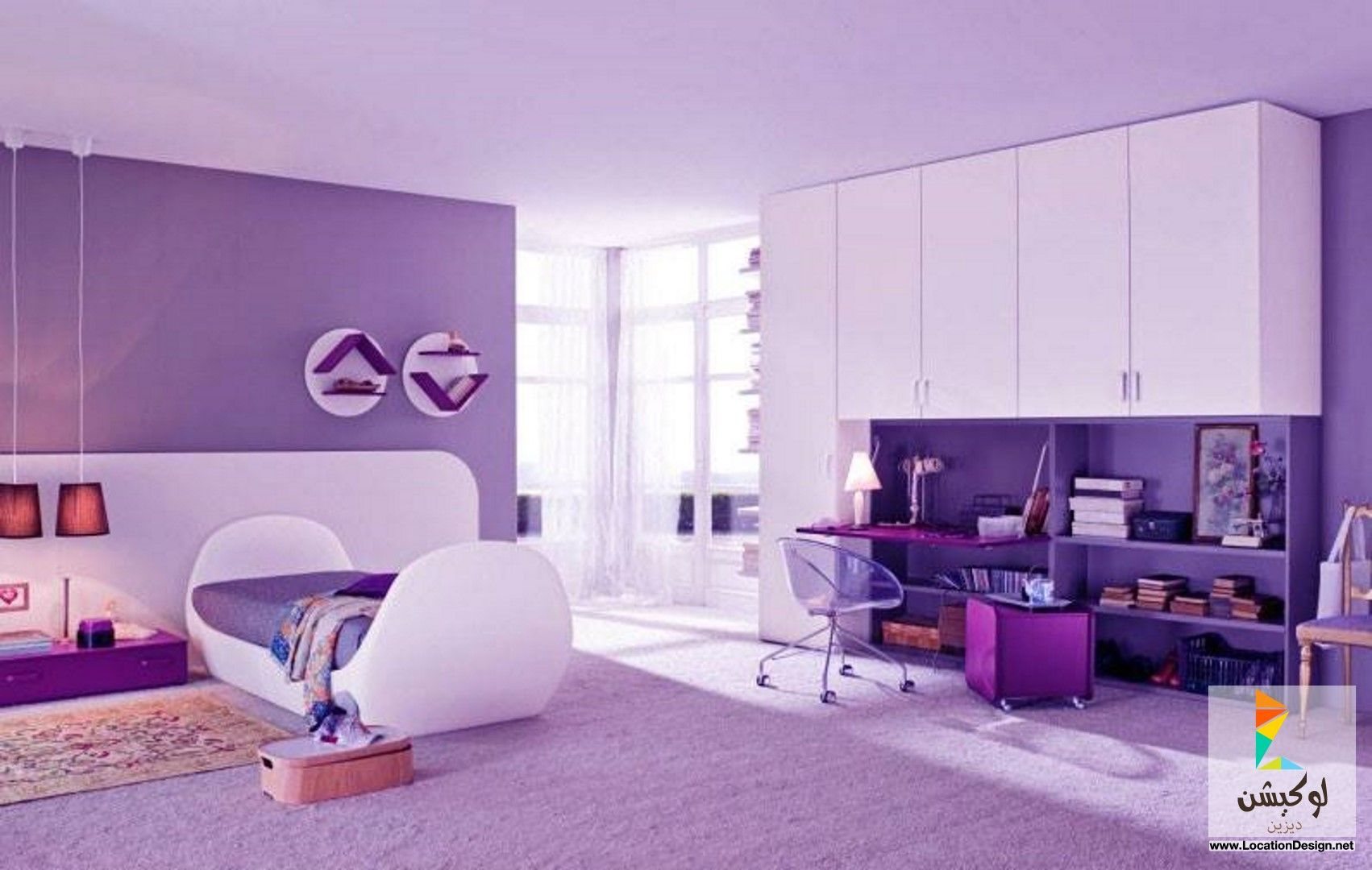 Big Bedrooms For Girls أفخم دهانات غرف نوم بنات باللون الموف | غرف نوم اطفال | pinterest