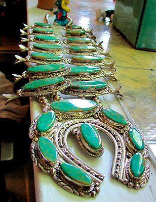 Vintage Squash Blossom Necklace Navajo Signed NE Sterling Cerrillos Turquoise | eBay