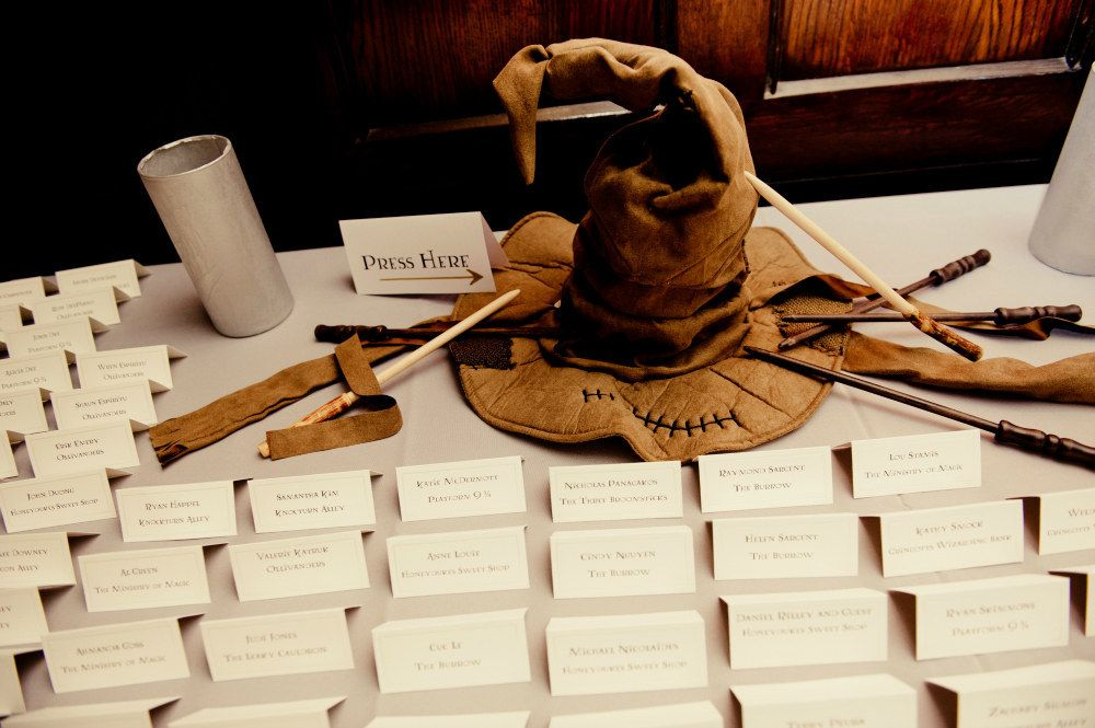 Direct guests to their tables with a Sorting Hat.