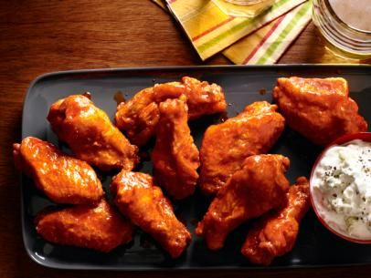 Fried Buffalo Wings With Blue Cheese Dip #charlestoncheesedips