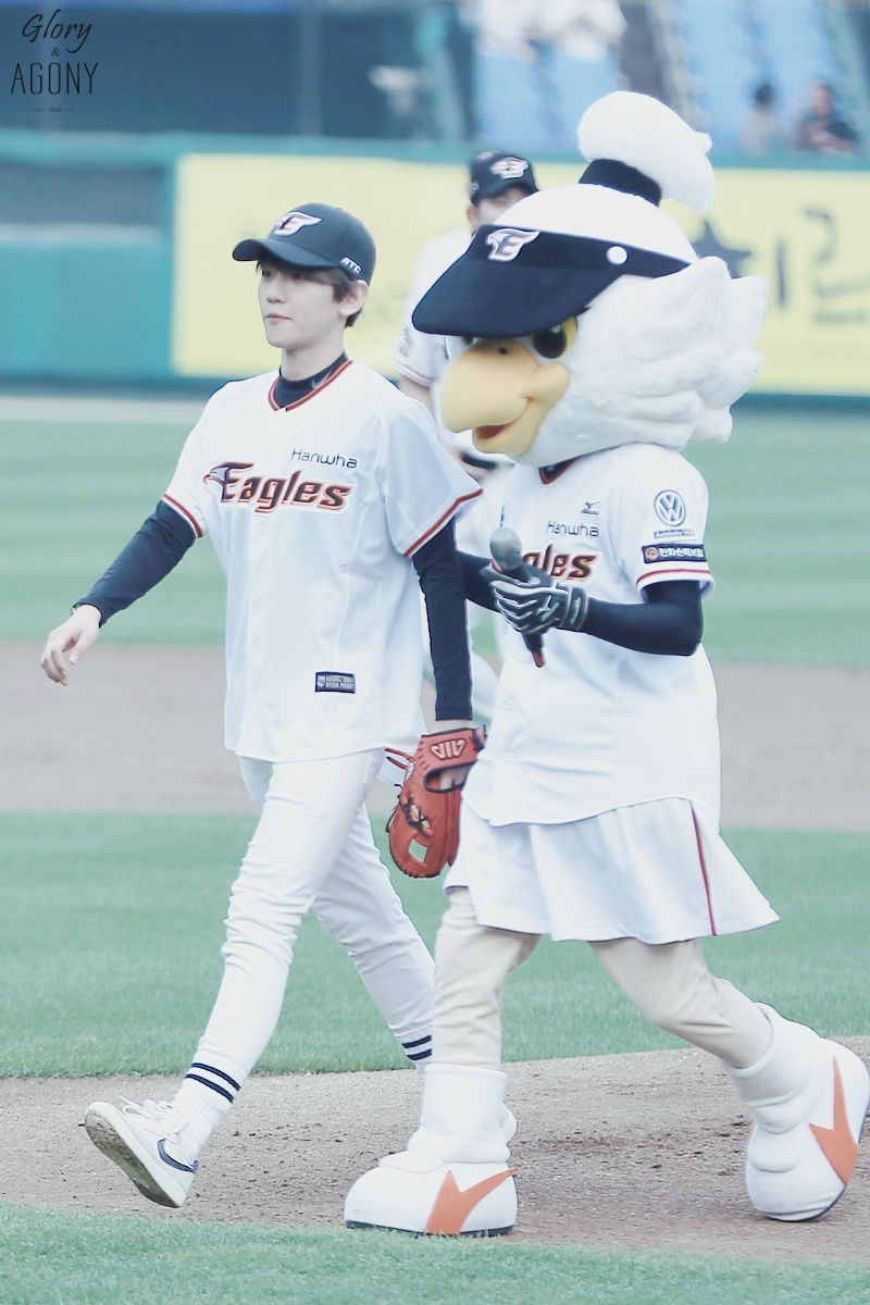 Baekhyun - 150616 SK Wywerns vs Hanwha Eagles opening pitch (SK 와이번스 vs 한화 이글스 시구식)