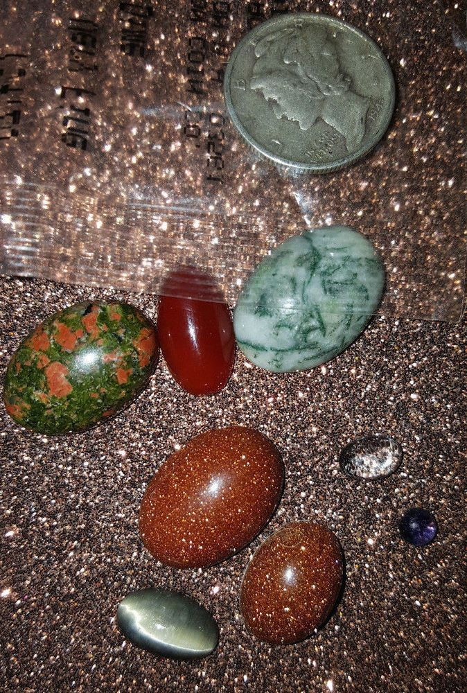 lot of assorted sized gemstone CABACHONS for jewelry making  assorted