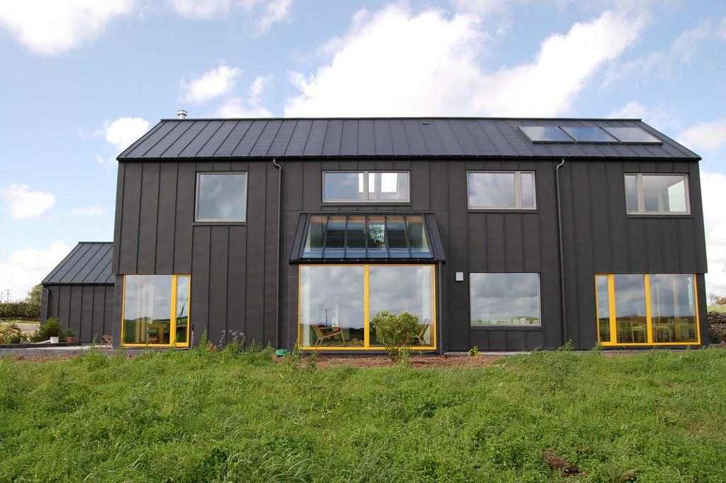 modern passive house black zinc clad construction metal