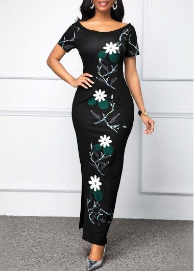 Party Dresses For Women Flower Print Short Sleeve Boat Neck Maxi Dress #blackmaxidress