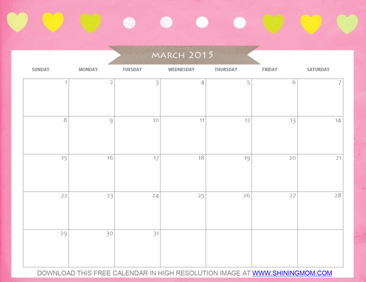 Free Printable March 2015 Calendar Cute And Pretty March 2015