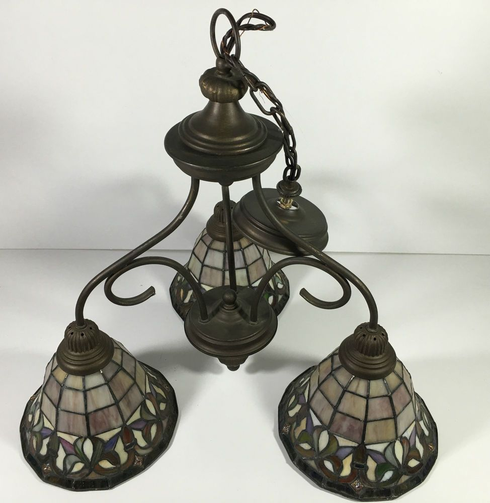 Vintage Tiffany Style Leaded Stained Glass 3 Light Chandelier