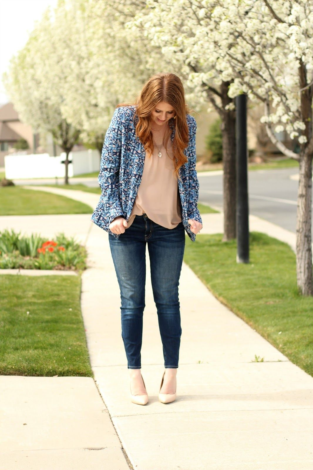 Nightchayde: Blossoms. Floral Blazer | Beige Top | Skinny Jeans | Beige Heels | Delicate Necklace | Outfit Idea| Modest Fashion| Budget Style.
