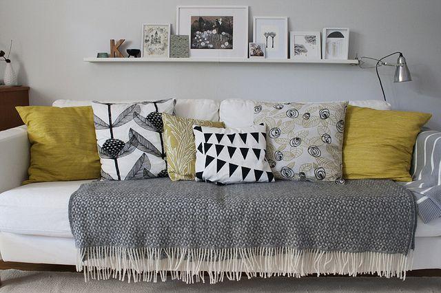 Untitled Yellow Living Room Living Room Grey Cushions On Sofa