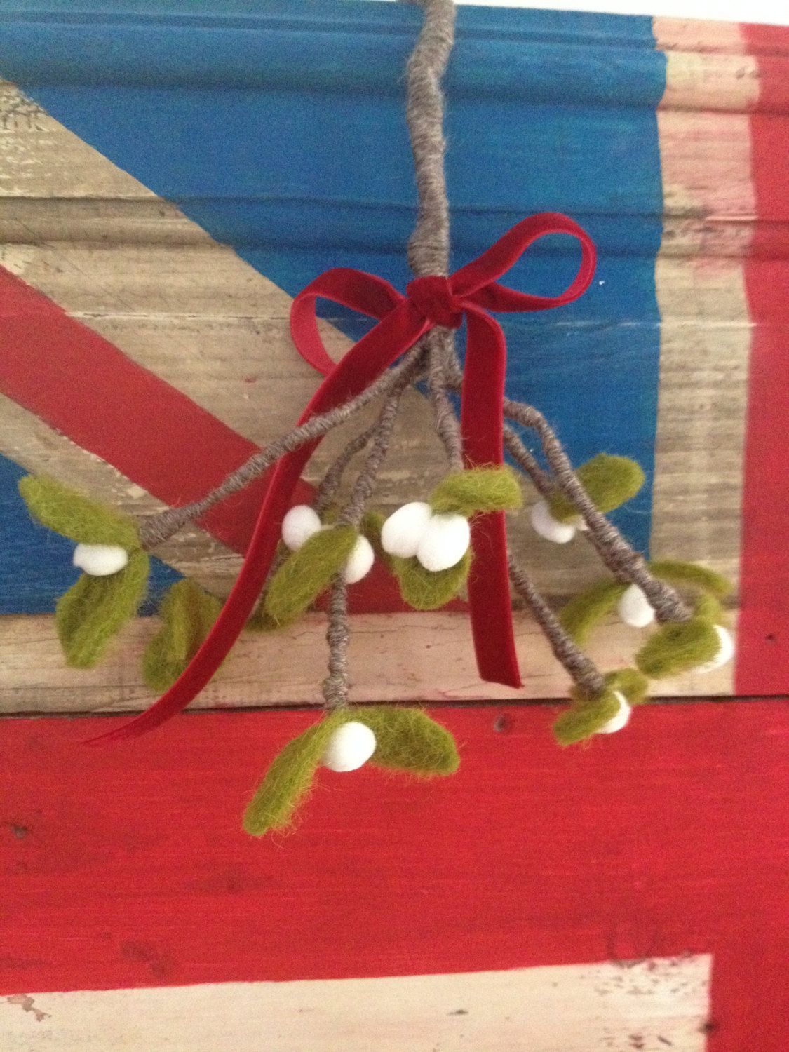 Wonderful felt mistletoe sprig tied with red by SMITHSEMPORIUM, 25.00