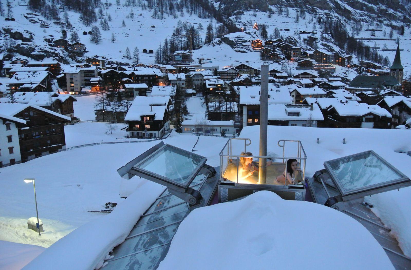 Jacuzzi with Matterhorn view in private chalet Zermatt Switzerland ...