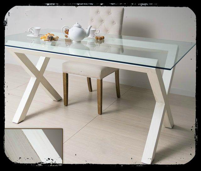 Mesa comedor madera decapada y cristal - Patas para mesa de cristal ...