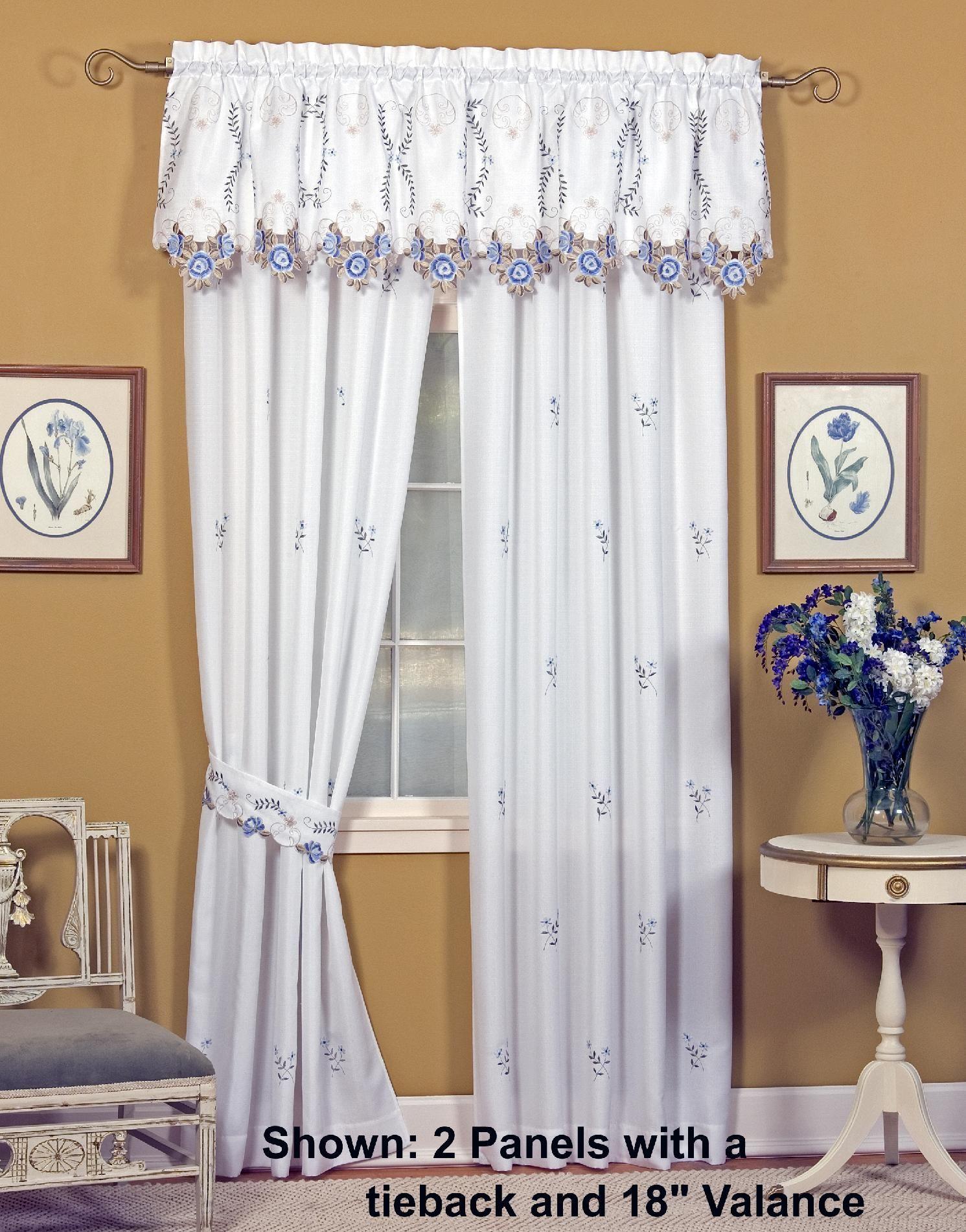 Today S Curtain Verona 84 Panel Pair With Tiebacks White Blue