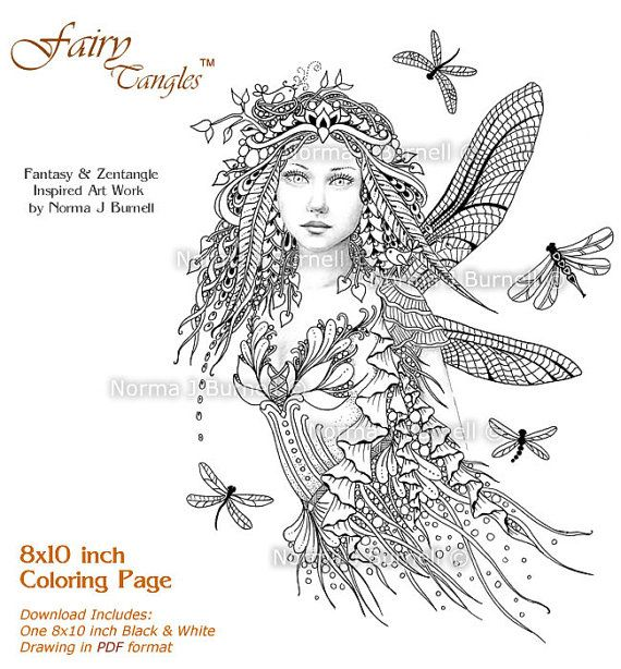 Dragonflies Fairy Fairy Tangles Grayscale Printable Etsy Coloring Book Pages Printable Coloring Book Fairy Coloring Pages