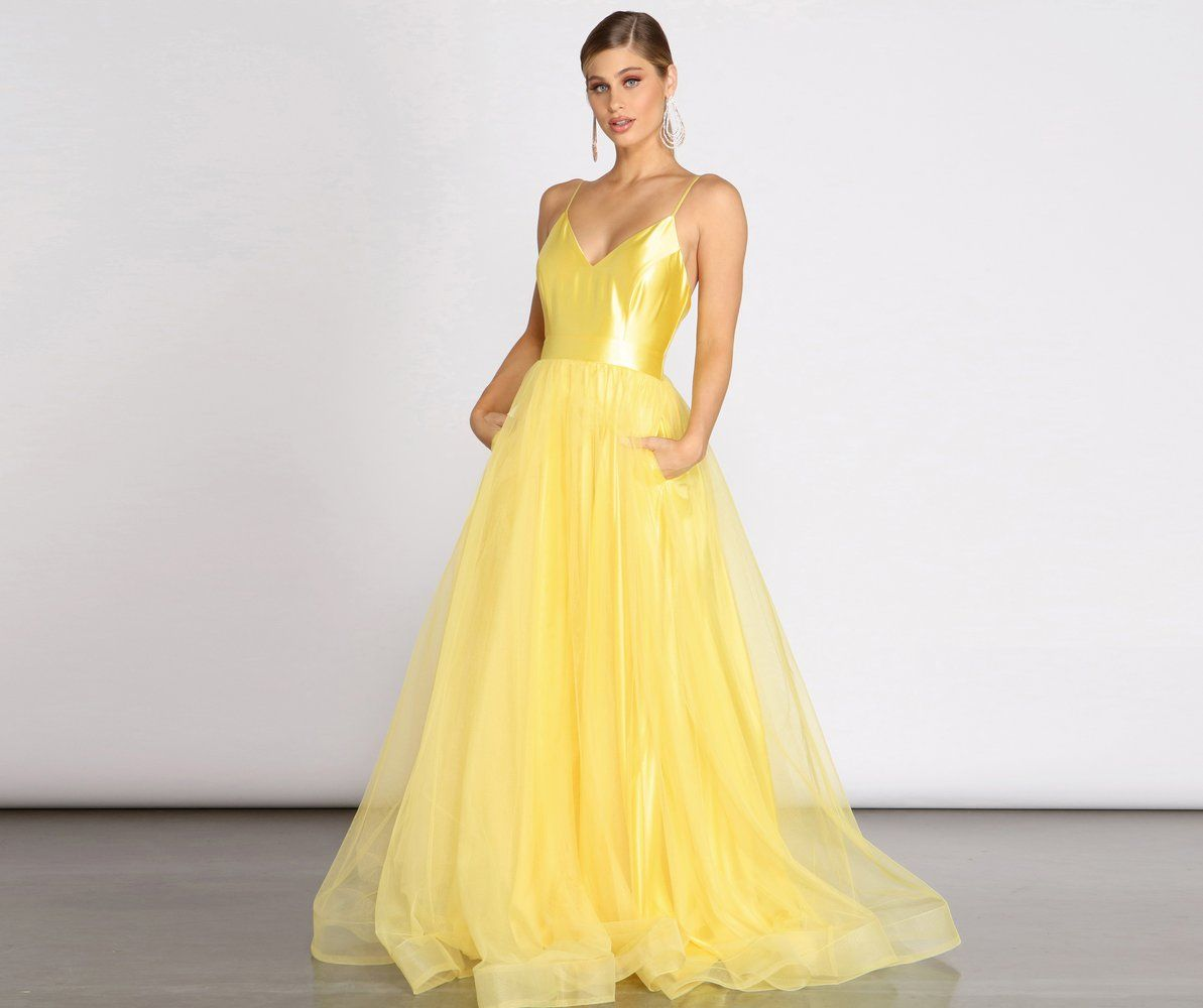 Belle Satin Tulle Ball Gown In 2021 Ball Gowns Prom Dresses Yellow Tulle Ball Gown [ 1000 x 1193 Pixel ]