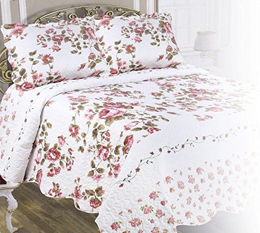 Amazon.com: Chiara Rose Double Sided Reversible Microfiber Quilted 3-Piece (2xSham 1xQuilt) Bedspread Coverlet Set (Twin, Purple Bouquet): Home & Kitchen