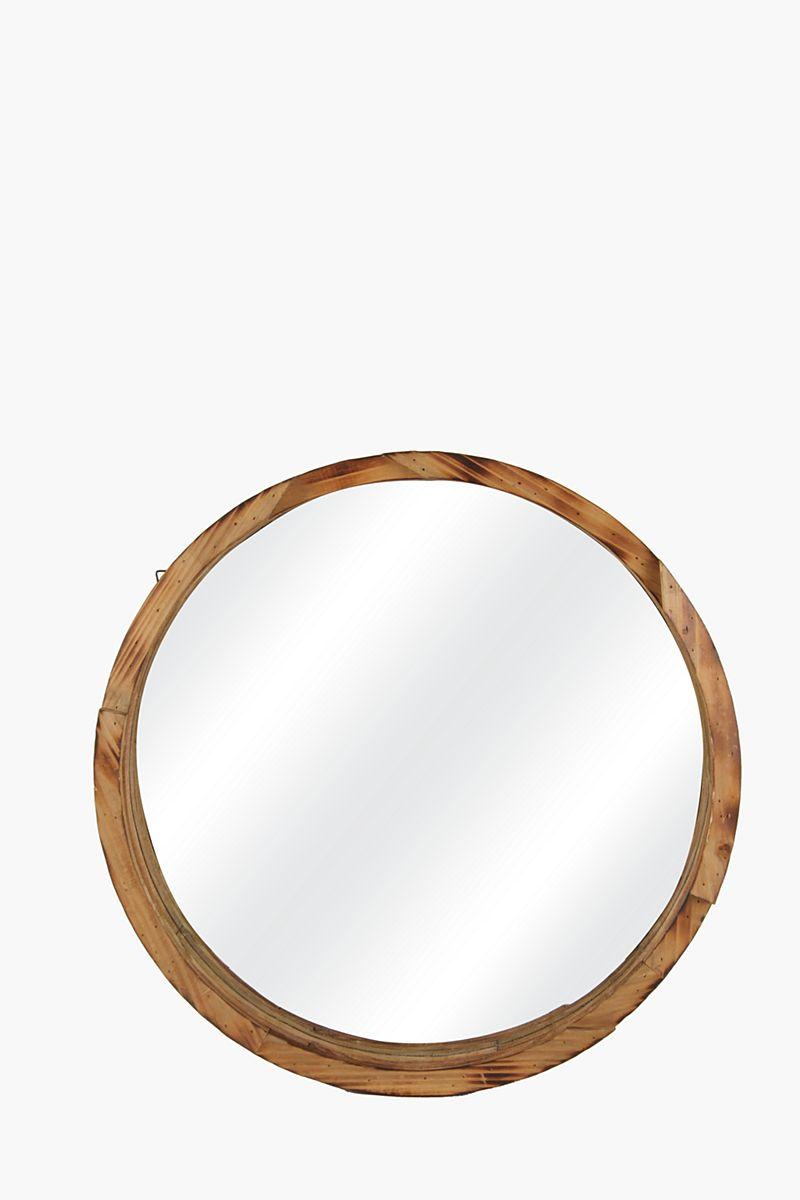 Cascade Mango Wood Round Mirror, 60cm Mirrors & Wall Art