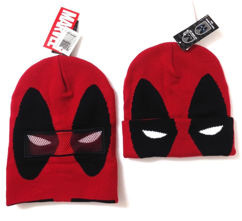 9a752a9ca DEADPOOL ROLLDOWN FACE MASK BEANIE Red Marvel Comic Winter Knit Ski Costume  Hat #Marvel #Beanie
