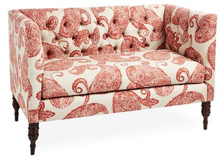 Wondrous Elizabeth 52 Tufted Settee Red Paisley Sofa Furniture Gmtry Best Dining Table And Chair Ideas Images Gmtryco
