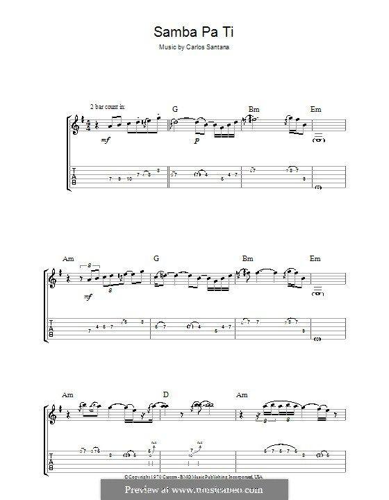 Samba Pa Ti (Santana): For guitar with tab by Carlos Santana | Music ...