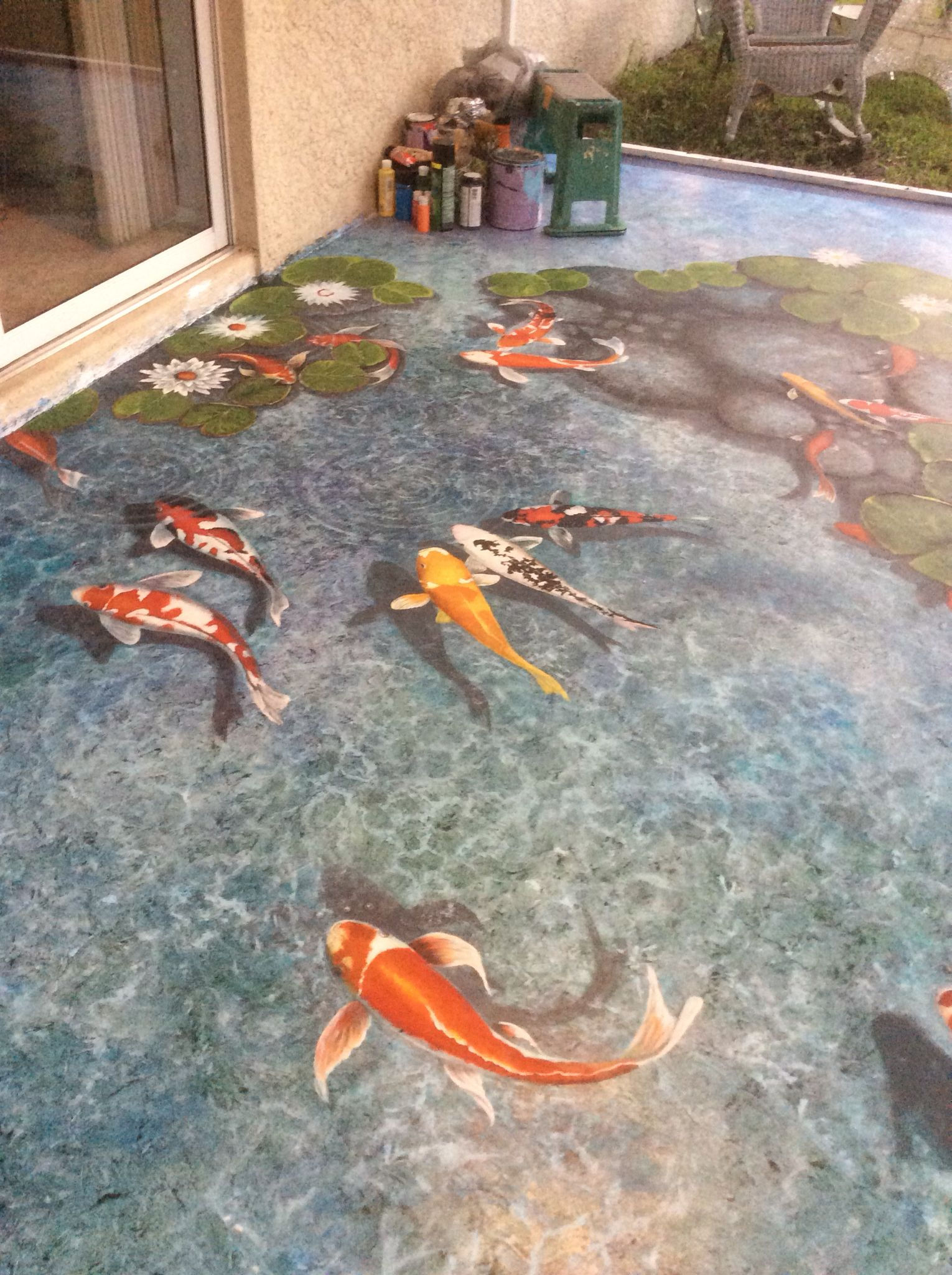 Art and design by louise moorman floor painting trompe l for Concrete koi pond design