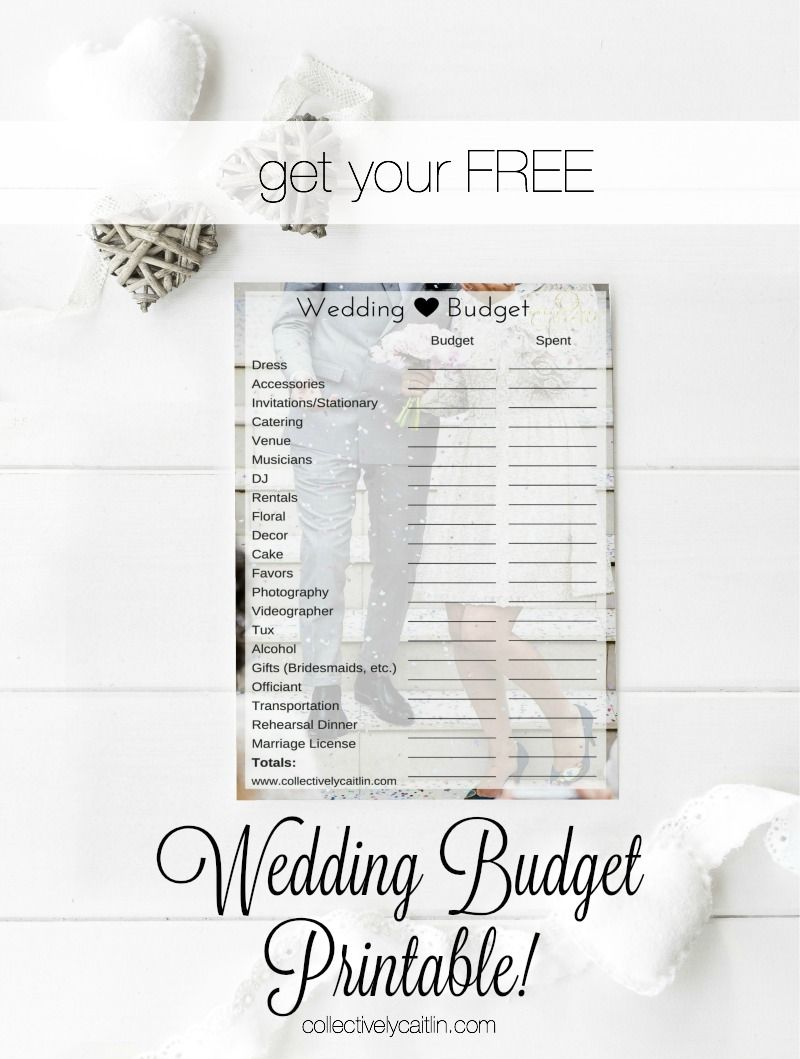 how to plan your wedding budget free printable pinterest free