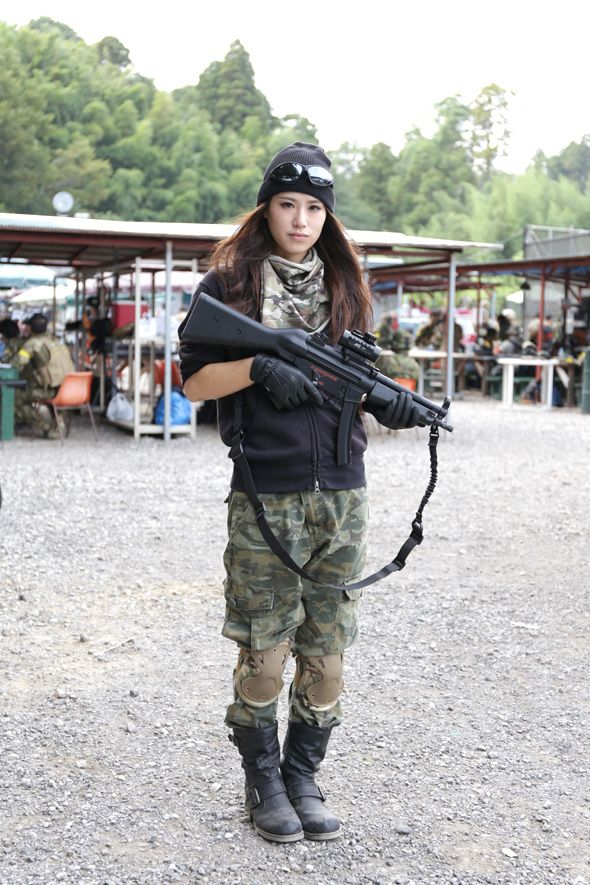 Are Japanese girls with airsoft guns shooting accept