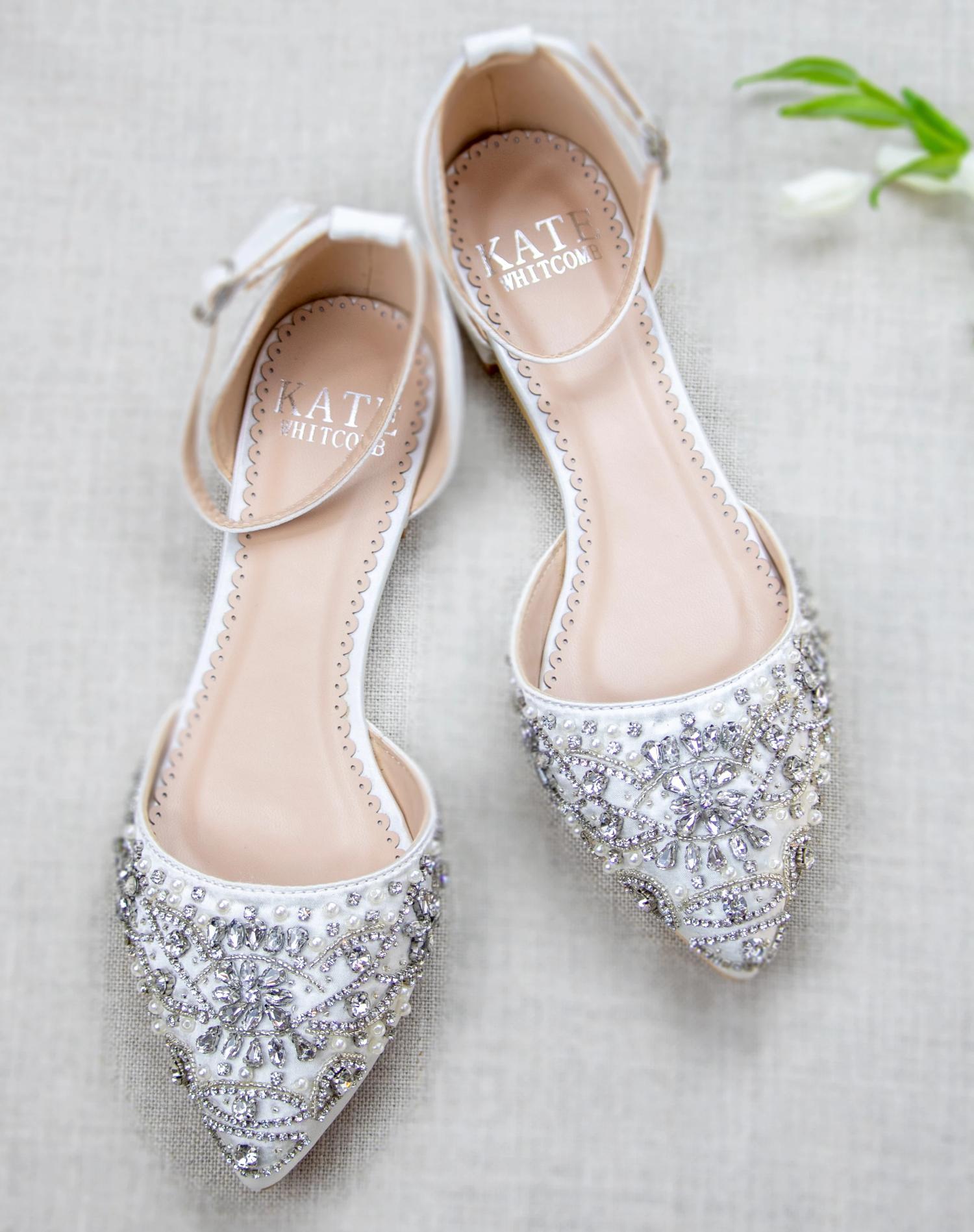 Madison Ivory Wedding Shoes Block Heel Bridal Shoes Flats Ivory Bridal Shoes