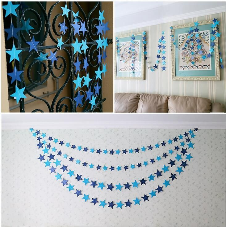 Visit to Buy 4meter pearlized stars paper Flag Party bell garland