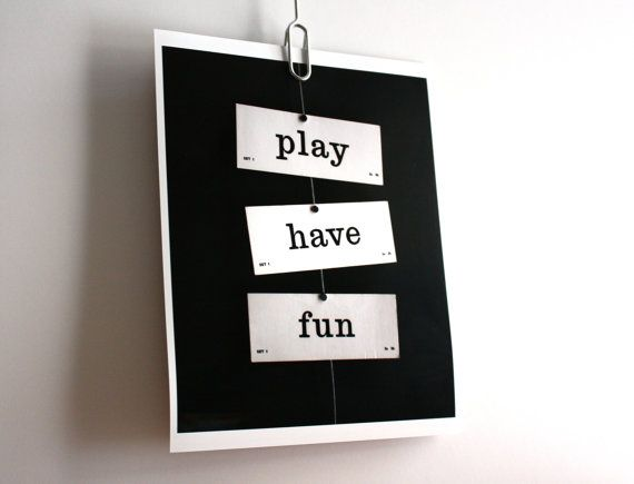 Play Have Fun Vintage Flash Cards Word Print Wall Art By Typescale 2000