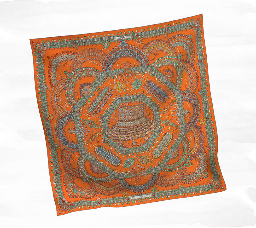 $410 Scarves Hermès White - Silk Twill - Scarves 90 - Women | Hermès, Official Website