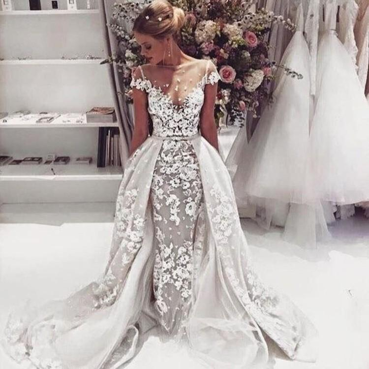 Unique Wedding Dresses With Color: Unique Design Cap Sleeves Lace Illusion Popular Wedding