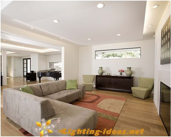 Superb Family Room With Recessed Lighting Fixtures