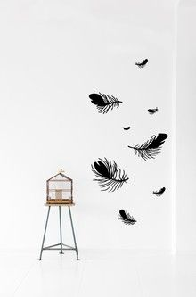 Lovely black feathers wall stickers by ferm living