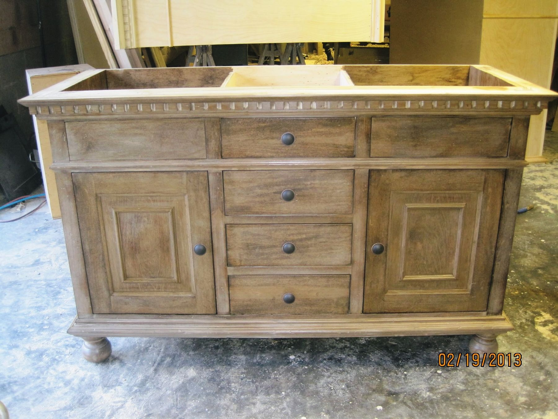 Custom Bathroom Vanities York Region st james double sink vanity in antique natural finish | el viejo