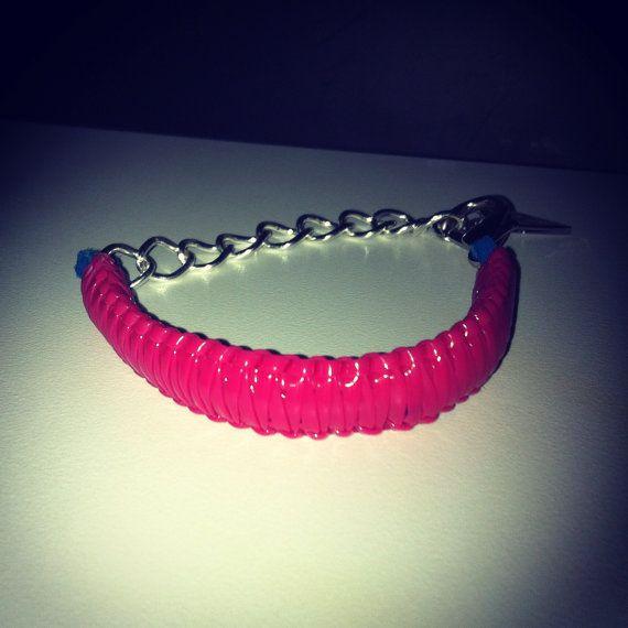 Electric Pink Bangle/Charm Bracelet by PopYourWrist on Etsy, $9.00