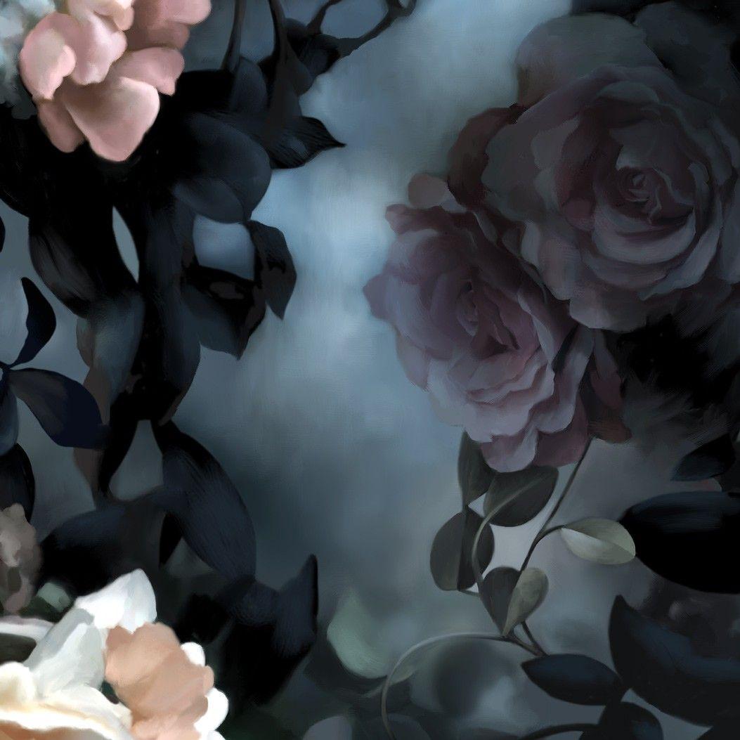 Black floral print wallpaper dark floral wallpaper by ellie cashman - Still Life With Shadows Blue Wallpaper Floral Wallpaper By Ellie Cashman Design