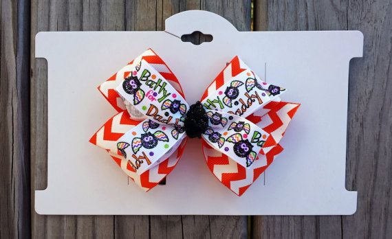 Batty for Daddy Halloween Hair Bow by LittleLauraLouCrafts on Etsy