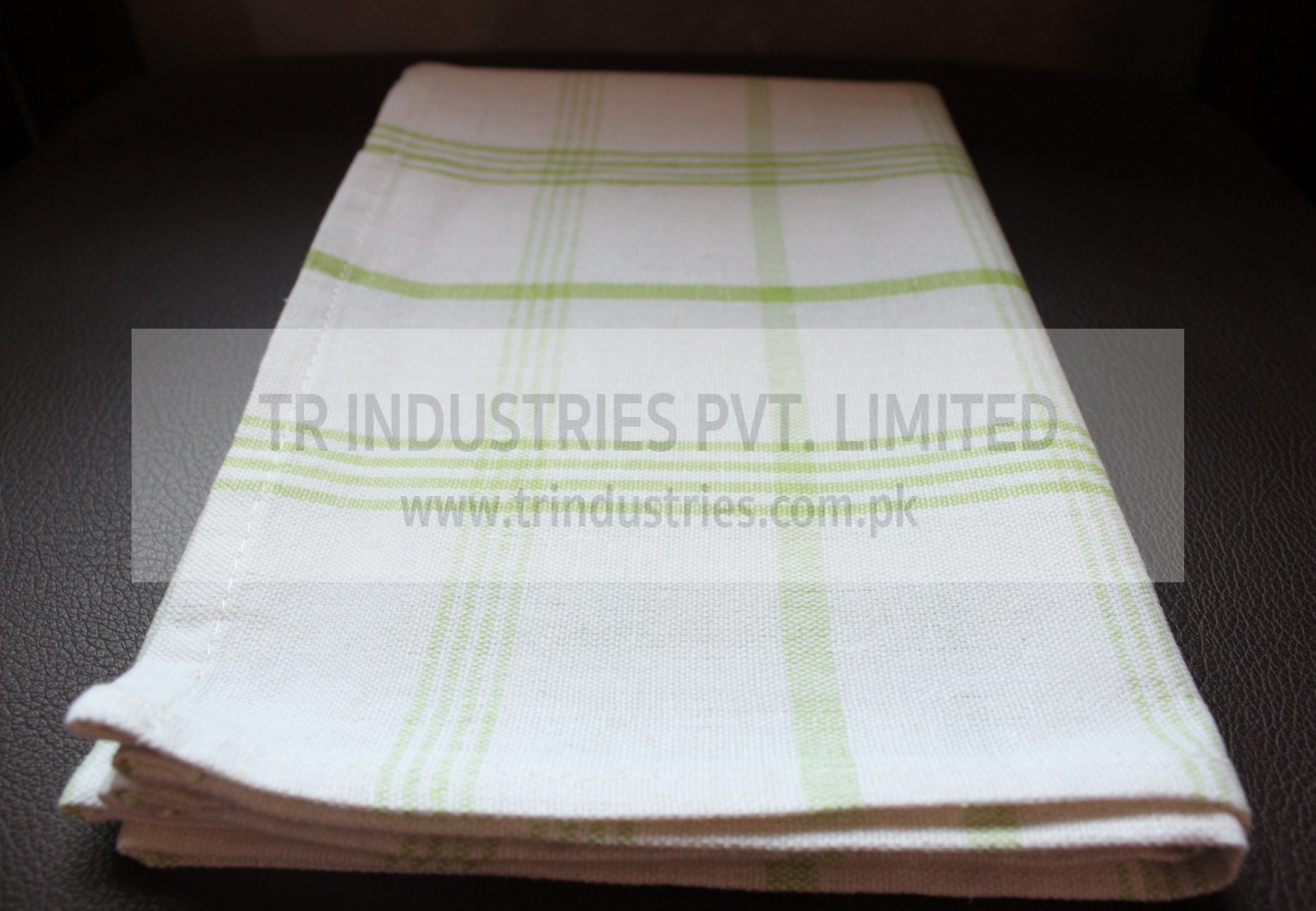 100% Cotton Yarn Dyed Kitchen towel white green stripes ...