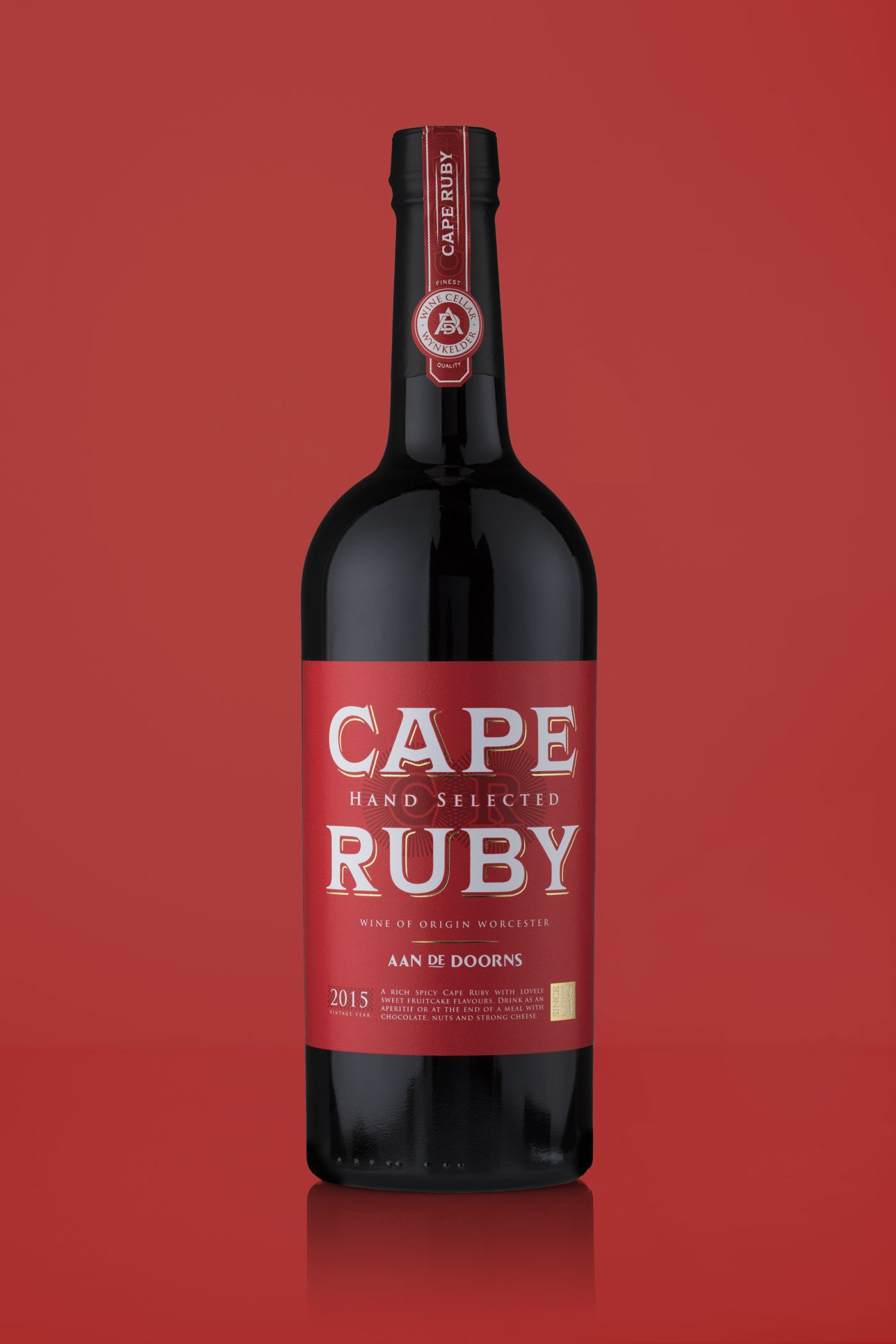 Stronger Shelf Presence With Packaging Design Revitalisation Of South African Cape Ruby Wine Brand World Brand Design Wine Brands Vintage Wine Wine Label Design