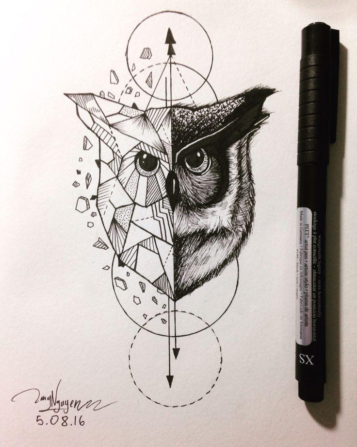 Geometric Tattoo Owl Geometric Animal Sacred Geometry And