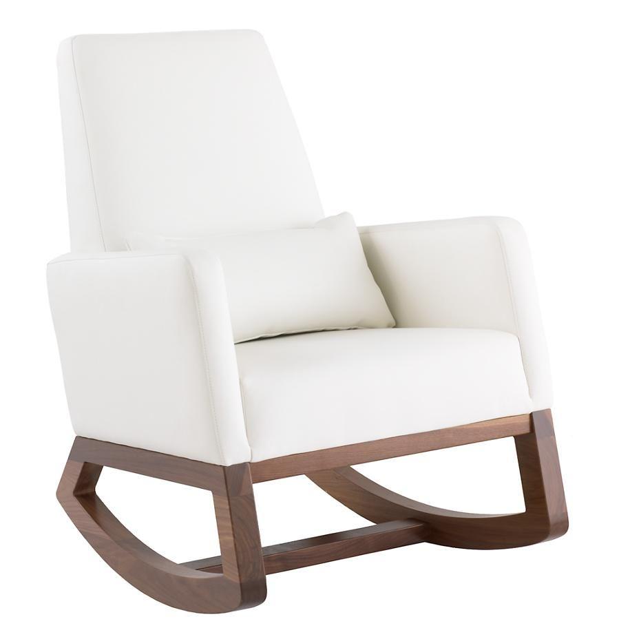 Joya rocking chair ottoman white leather rocking