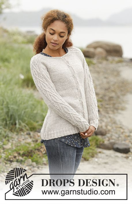 940252f072433 Knitted DROPS jacket with raglan and cables on sleeves and in the sides