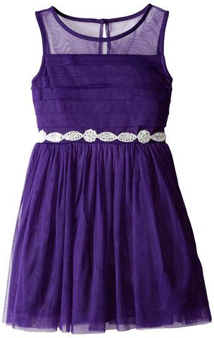 f42f911b74f My Michelle Big Girls  Dress with Pleated Skirt and Mesh Neckline ...