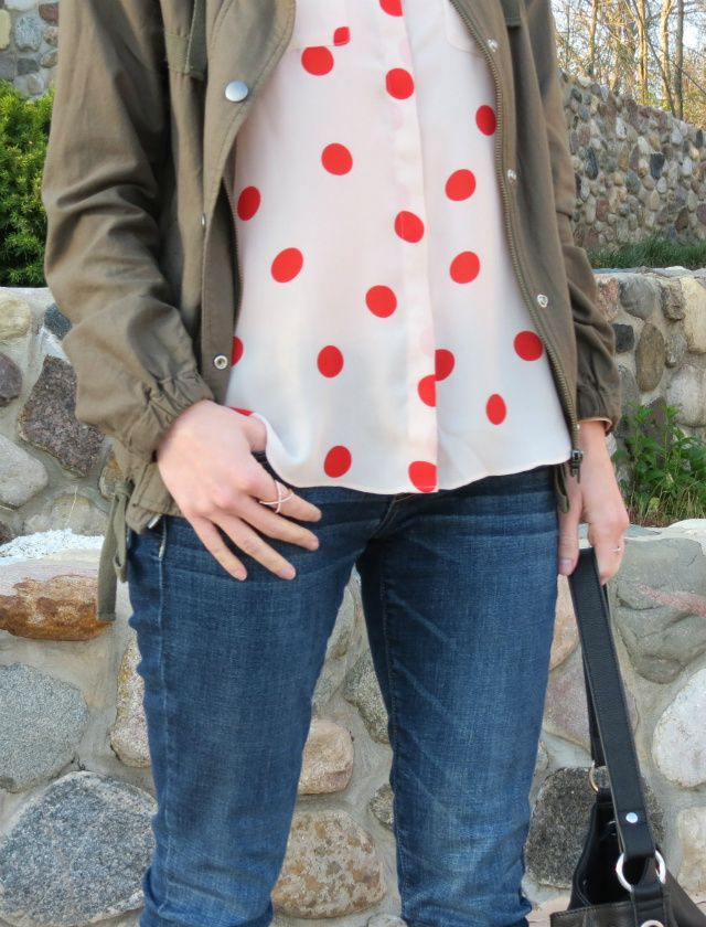 red polka dot blouse, cutout ankle boots, army jacket, bucket bag