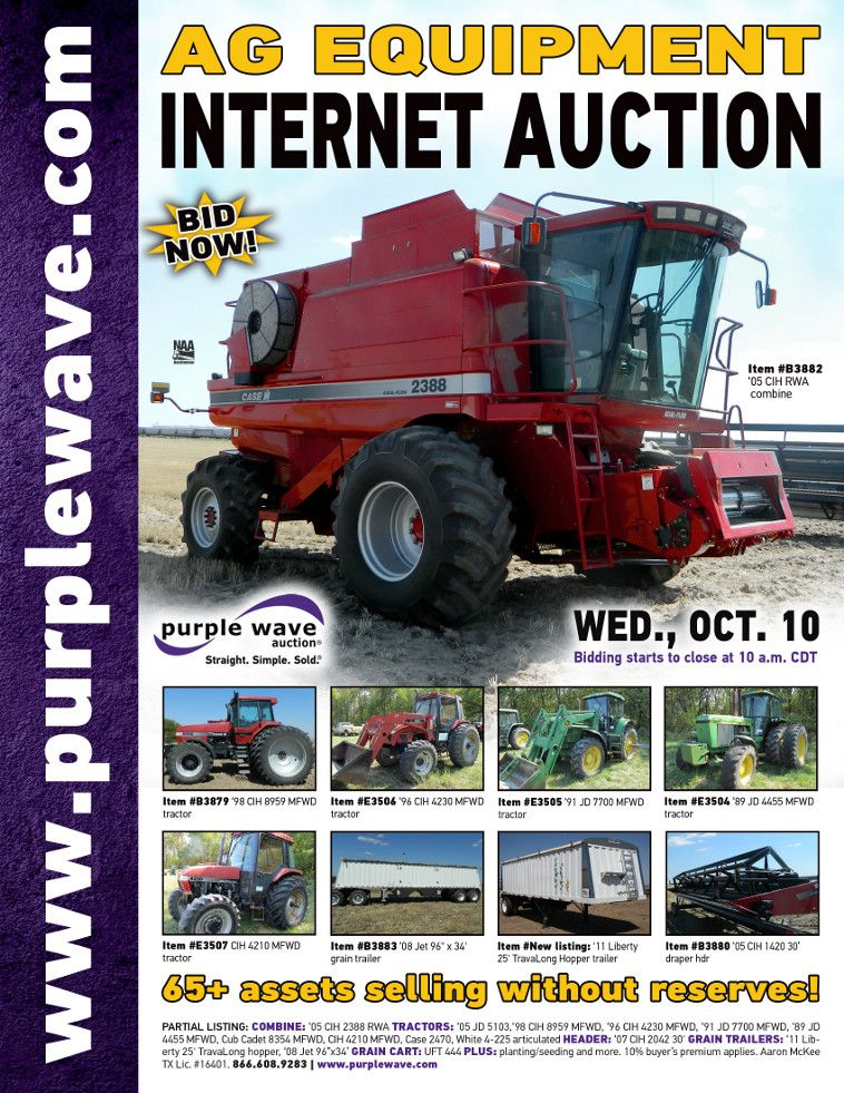 Ag Equipment Auction  October 10, 2012  http://purplewave.co/121010