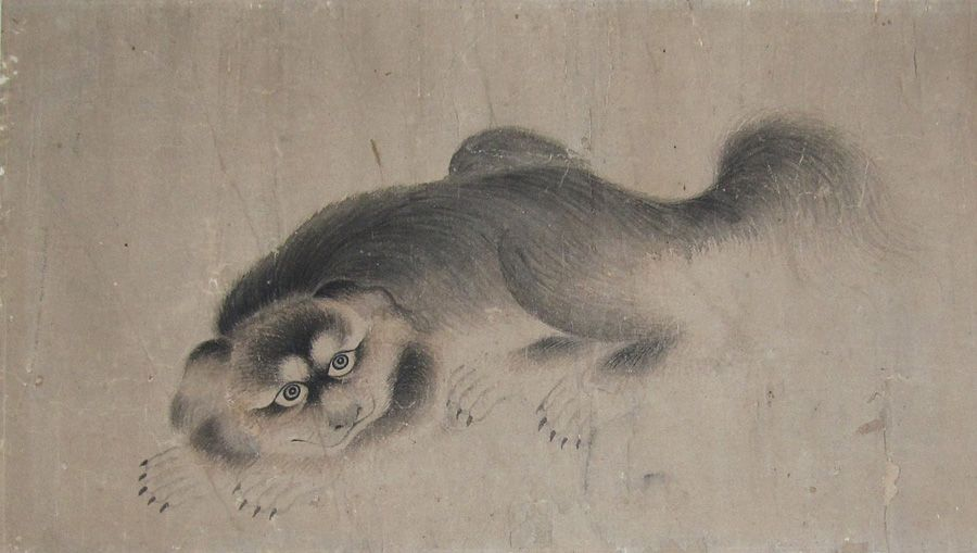 A fine painting of a crouching grey Pekingese dog, 19th century