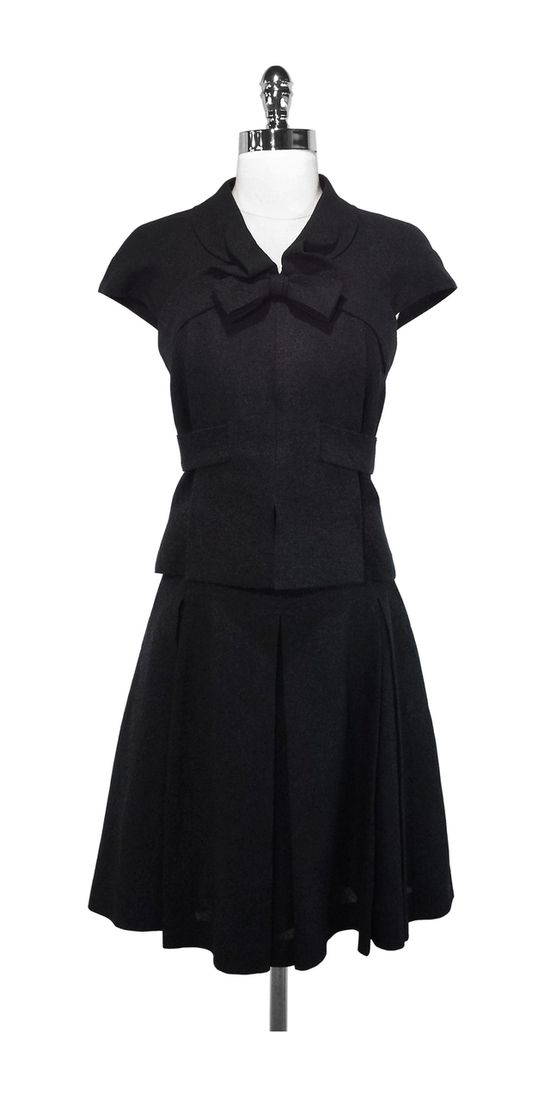 Current Boutique - Chanel - Black Cap Sleeve Blouse & Pleated Skirt Combo Sz 4 $1225.00