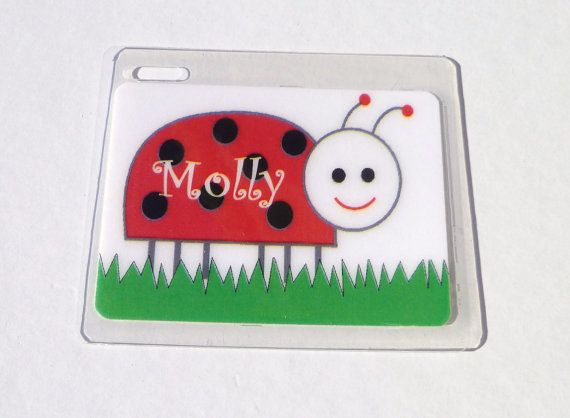 Ladybug Bag Tag Name Lady Bug Diaper By Toddletags 5 95