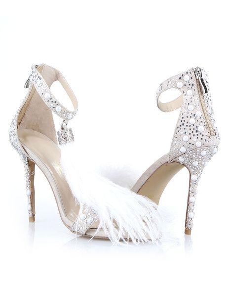 eb65df2d35d White Bridal Sandals High Heel Tassels Rhinestones Sexy Evening ...